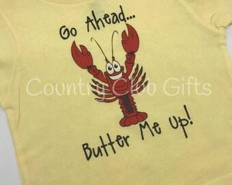 Butter me up!  Lobster kids shirt, Maine lobster