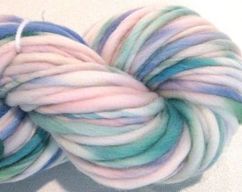 Bulky Handspun Yarn Cuddles 85 yards blue green pastel yarn pink hand dyed merino yarn waldorf doll hair knitting supplies crochet supplies