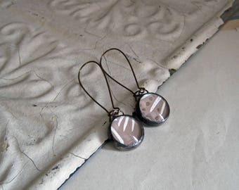 Recycled Wallpaper Glass Earrings Mismatched Jewelry