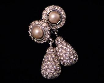 Vintage SWAROVSKI Swan Signed Pearl and Pave Crystal Teardrop Earrings
