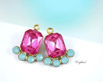 Vintage Octagon Stone Swarovski Crystal Earring Drops 17x14mm Jewelry Findings Rose & Pacific Green Opal - 2