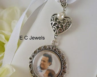 Summer Sale Wedding Bouquet Memorial Photo Charm with a Pearl Accent - Pick your color