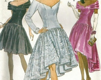 ChristmasinJuly Vintage Vogue 8200 UNCUT Misses Drop Waist Evening or Cocktail Dress with High Low Hem Sewing Pattern Sizes 6-10 Bust 30.5-3