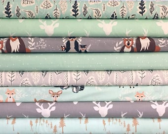 Mint and Gray Quilt Fabrics, Hello Bear Bundle, Baby Fabric Bundle, Unisex Baby, Green, Grey, Art Gallery, Modern, Rustic, FREE SHIPPING US