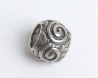 Swirls and Leaves Spacer Charm Sterling Silver European Large Hole Pandora Compatible