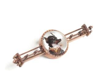 Victorian Reverse Carved Crystal Dog  Brooch 14K Gold Bar Pin Pinscher Dog