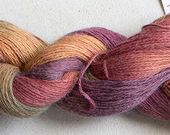 Alpaca Cotton Lace, Hand Painted yarn, 300yds - Old Brass