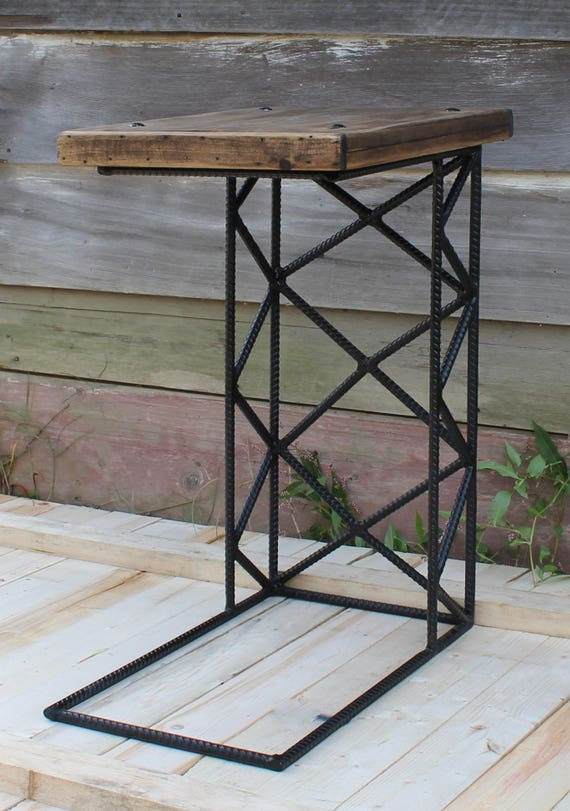 Industrial Furniture   C Table   Steampunk Decor   Wood And Forged Steel C  Shaped Tables