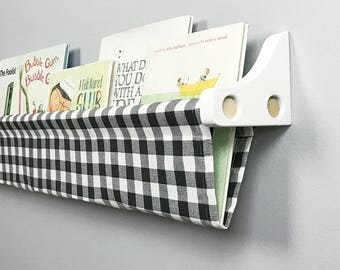 Book Sling and Wooden Brackets- Black and White Check - Choose your size and finish
