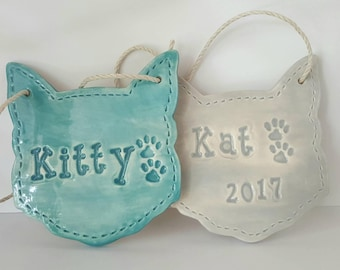 Kitty Cat Ornament with Name | Personalized Ornament | Custom Clay Ornament | Made to Order | Personalized for Cat | Christmas Ornament