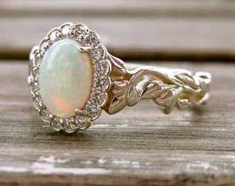 White Opal Engagement Ring with Diamonds in Sterling Silver Flowers on Vine Setting Size 7