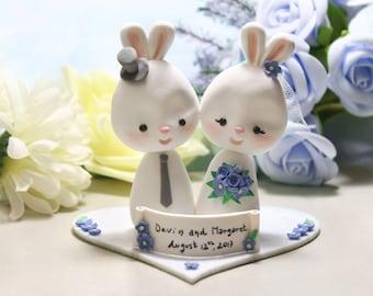 Wedding cake toppers Bunnies + base - bride groom figurine rabbit cornflower blue personalized elegant rustic country white farm animal
