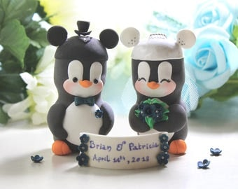 Mickey Mouse ears hats Penguins cake toppers wedding - Mickey Mouse inspired black white bride groom royal blue silver wedding cute funny