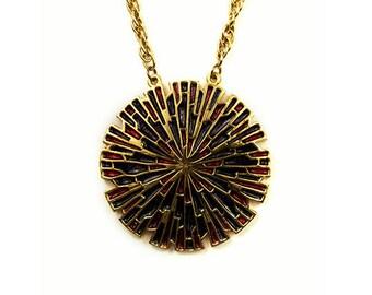 1960s LUPE Geometric Enameled Statburst Disc Oversized Pendant Gold Tone Mod Vintage Pendant Necklace