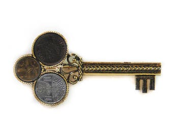 1980s Ancient Roman Greek French Coin Oversized Gold Tone Key Coin Jewerly Brooch Pin