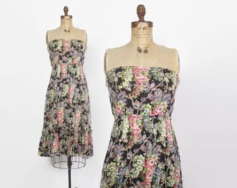Vintage 70s STRAPLESS DRESS / 1970s Black Floral Cotton Sun Dress