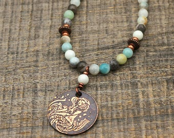 Copper mermaid necklace with light blue multicolor amazonite beads, etched metal, 19 inches long