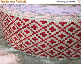 """Christmas Sale Vintage Jacquard Sewing Trim RED SOUTHWESTERN CROSS Wide Upholstery 1.75"""" by the yard"""