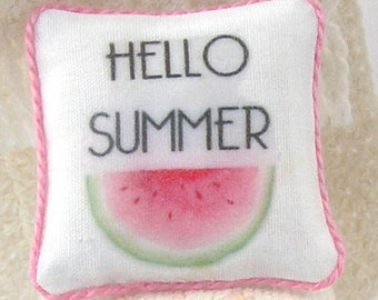 1:12 Pillow - Watermelon - Handmade Scale Miniature Dollhouse - Summer **Free Shipping**