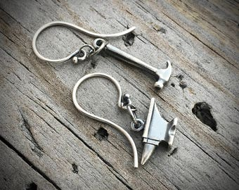Sterling Silver Anvil Hammer Earrings Handmade By Joy Kruse Wild Prairie Silver Jewelry