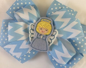 Christmas  angel  girls boutique  hair bow blue chevron  tibbons
