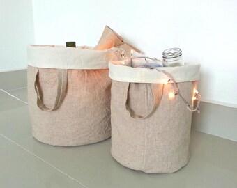 Custom order for Carmen/Linen Laundry Bag/ Linen Hamper/ Grocery Basket/Cloth organizer/ Toy Storage/ Country Home decor