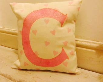 Heart Initial Cushion - Alphabet Cushion - Initial - Personalised Cushion - Glitter Cushion - Cushion - Baby Gift - Child's Gift - Letter