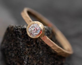 Antique 1800's Old Mine Cut Miner Cut Diamond in 18k Recycled Gold Ring- Vintage Diamond