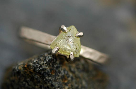 Transparent Raw Macle Diamond on Thin Recycled Gold Band- Custom Made Engagement Ring