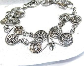 Vintage Silver Tone Scrolls Bracelet Swirls Artisan Made