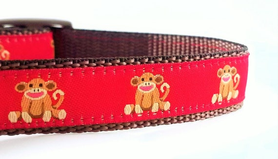 Sock Monkey - Dog Collar / Adjustable / Teacup / Small Dog Collar / Sock Monkey / Dog Collar / Tiny Dog Collar / Dog Lover / Gift Idea