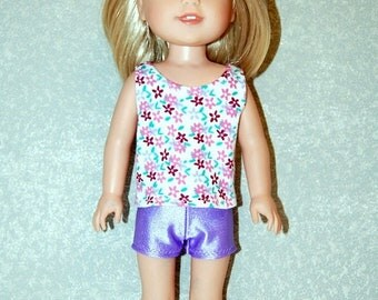 Spring Sale Flower Tank Top purple shorts set handmade for 14.5 inch Wellie Wishers tkct1221 READY TO SHIP