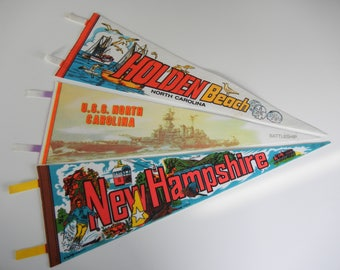 Souvenir pennants / North Carolina / New Hampshire / RV decor / 1970s era / kitsch / blue brown white red yellow / Man cave