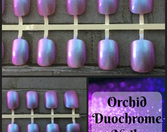 Fairy Duochrome  Short Fake Nails | Color Shift Nails | Chameleon Nails | Choose Your Color Nails | Short Fake Nails | Duochrome