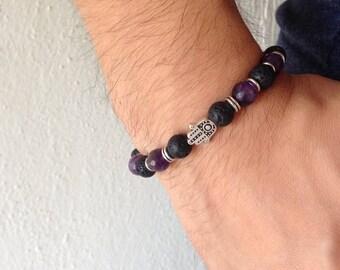 Hamsa hand bracelet - Lava beads - Amethyst gemstones - protection - Greek jewelry - For men or women
