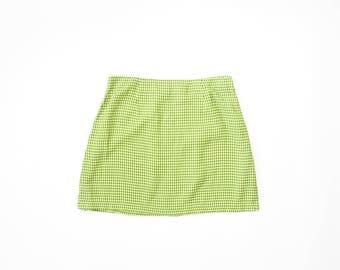 90s Mini Skirt 1990s Plaid Punk Skirt Soft Grunge Pastel Goth Citrus Green Yellow Vaporwave Kinderwhore Schoolgirl Riot grrrl Extra Large XL
