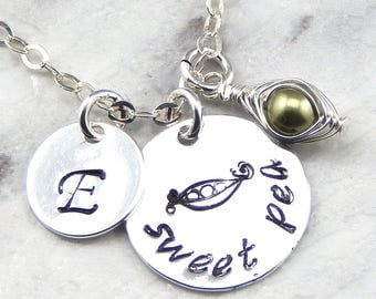 Personalized Sweet Pea In A Pod Necklace,Peas In A Pod, Pea Pod Necklace,  Hand Stamped
