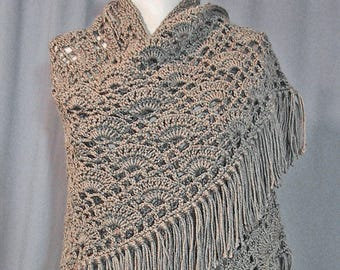 Heather Grey Shawl Crocheted - Handmade - Warm Wrap - Glamorous Coverup - Ready to Ship - Lovely Gift - Historical Costume Accessory