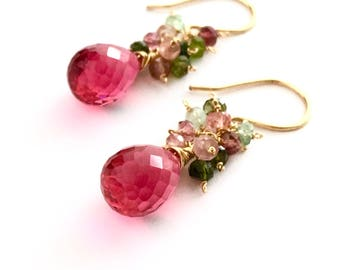 Pink Fuchsia Gemstone Earrings. Gold Pink Quartz Watermelon Tourmaline Teardrop Earrings. Valentines Day Earrings