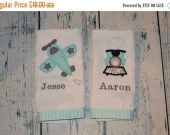 ON SALE Personalized Train and Plane Burpcloth Set of 2 Burp Cloths