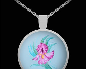 Iris in Lavender Pendant Necklace - Wearable Art - Floral Gift for her -