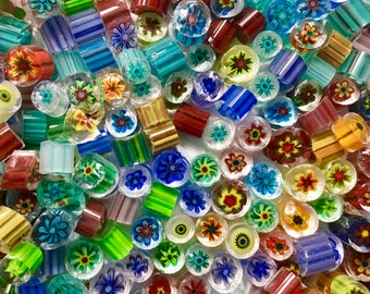 NEW MIX! Murrine Millefiore 96 coe, about 70 pieces  ( 1 oz )  28 grams, Best Quality Glass Slices, BRIGHT Assortment  Murrini