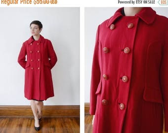 Summer Sale - 1960s Red Double Breasted Coat - S/M