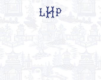 Blue and White Pagoda Chinoiserie Pattern (all-over) Stationery, Invitation or Announcement Set