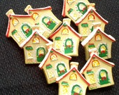 STORE CLOSING - See Shop Announcement for 60% off code - Christmas House Buttons - 1 inch - You Pick Quantity from 5 to 150