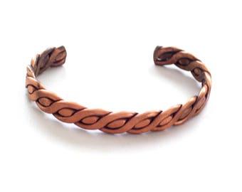 Vintage Copper Cuff Bracelet, Braided Cuff, Copper Twist Cuff, Copper Bracelet, Chunky Vintage Copper Cuff Bracelet, Copper Bracelet