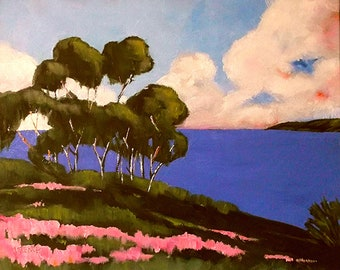 Landscape Seascape California Painting MONTEREY BAY Pacific Ocean Wildflowers & Eucalyptus Lynne French Impressionist Plein Air 16x20