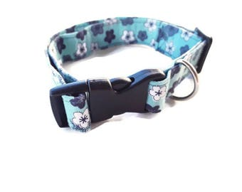 OOAK Blue Boy Dog Collar, Medium or Large, Fabric Collars, Handmade Adjustable, Ready to Ship