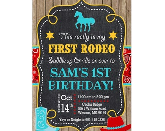 Boy Rodeo Bandana Western Pony Party Horse Farm Cowboy Petting Zoo Birthday Invitation - DIGITAL FILE