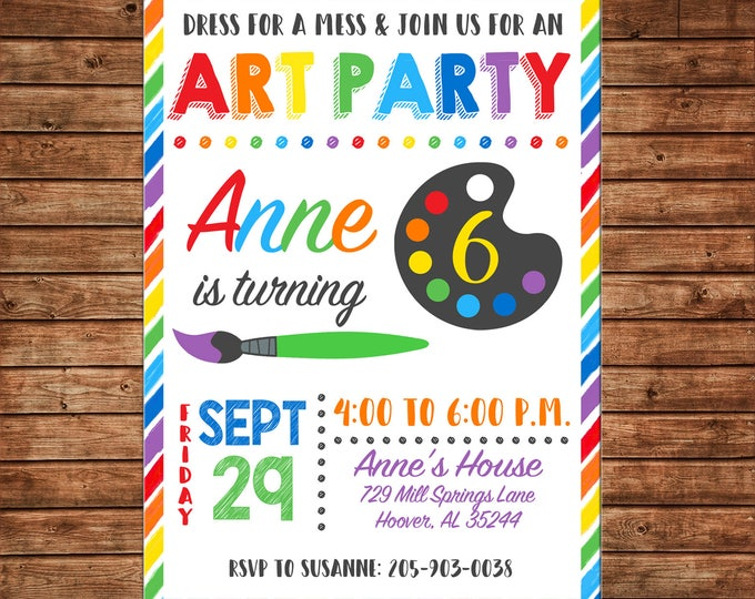 Boy or Girl Art Party Paint Pottery Canvas Brush Watercolor Rainbow Birthday Invitation - DIGITAL FILE